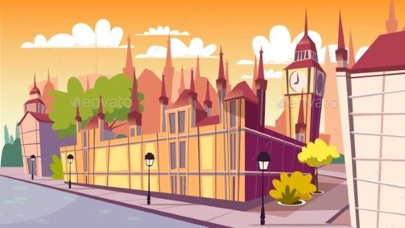 Lodon Day Cityscape Vector Cartoon Illustration - Buildings Objects