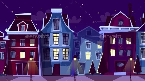 Amsterdam Night Cityscape Vector Cartoon - Buildings Objects