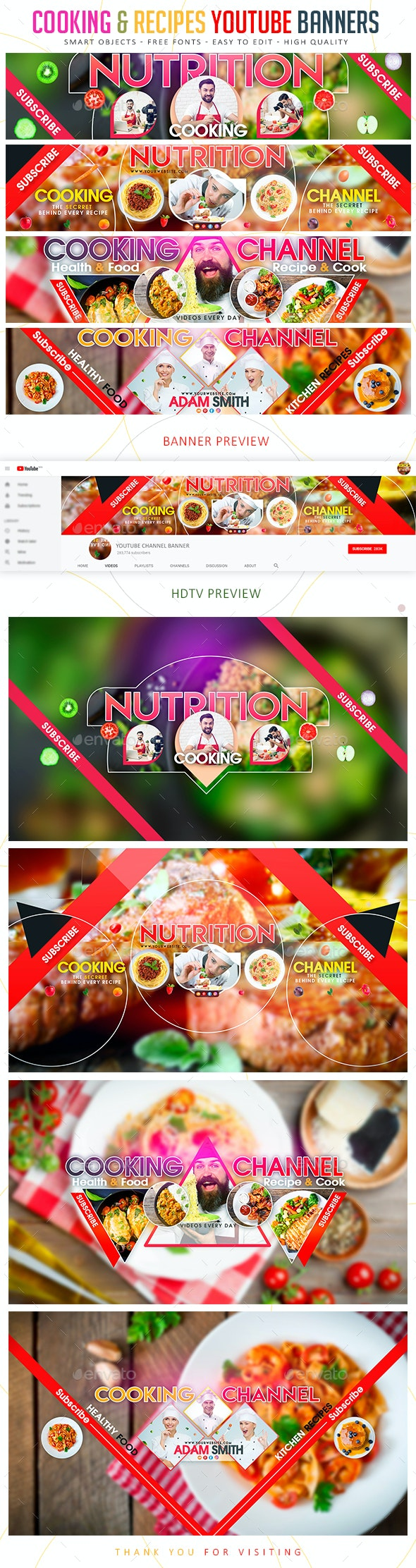 Cooking Recipes Youtube Banner By Blildesign Graphicriver