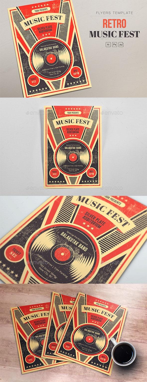 Retro Music Fest - Vinyl Flyers - Clubs & Parties Events