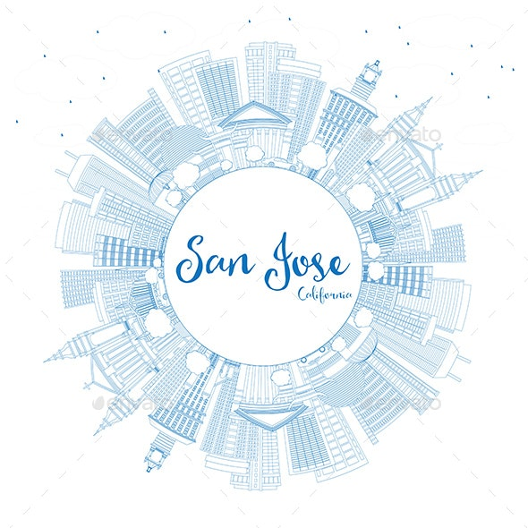 Outline San Jose California Skyline with Blue Buildings and Copy Space - Buildings Objects