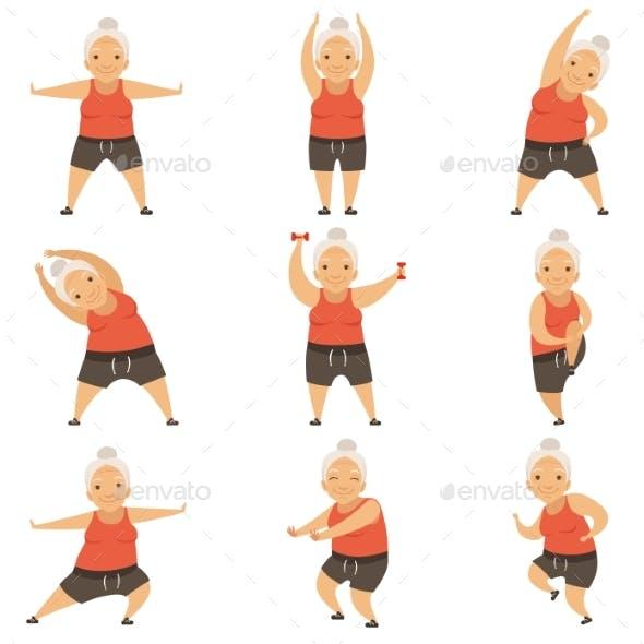 Senior Woman Doing Morning Exercises