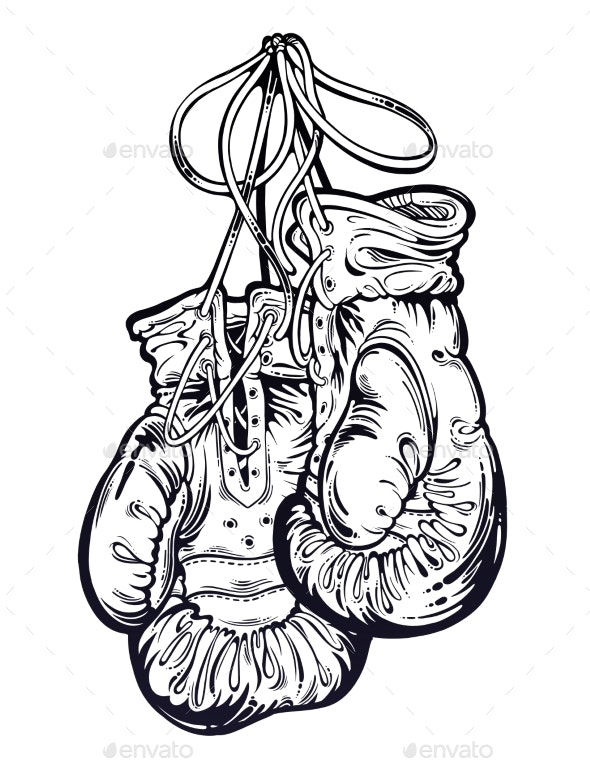 Vintage Boxing Gloves Hanging From the Wall - Sports/Activity Conceptual
