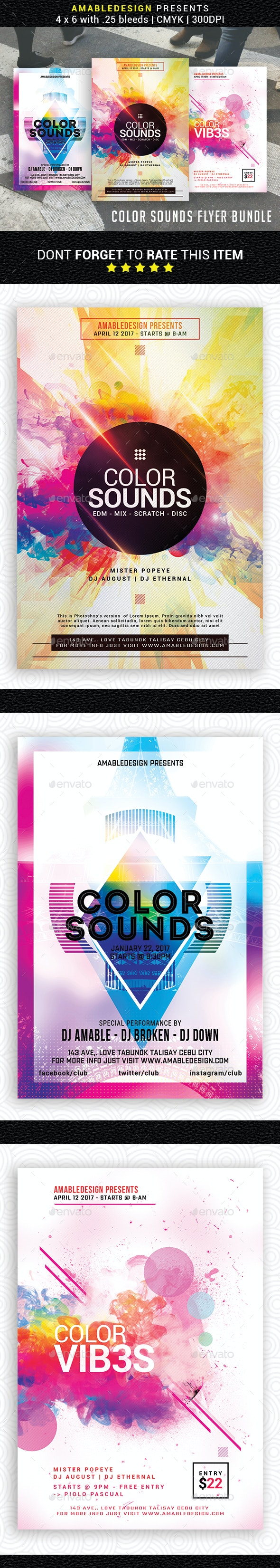 3 in 1 Color Sounds Flyer/Poster Bundle - Events Flyers