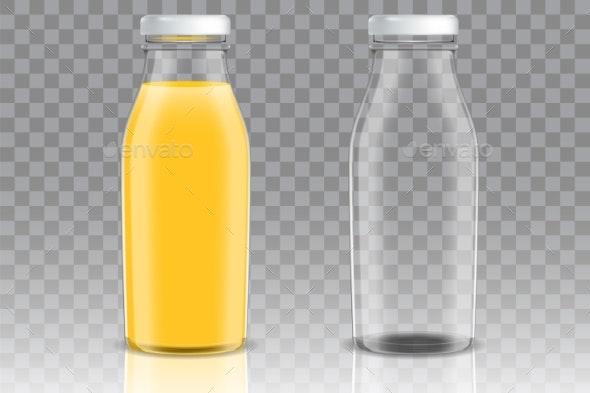 Orange Juice Glass Bottle Vector Mockup Set - Food Objects