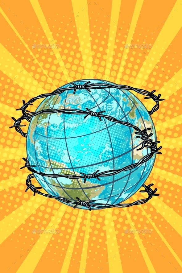 Planet Earth Barbed Wire - Miscellaneous Vectors