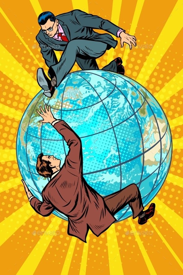 Two People Fighting on the Planet Earth - Concepts Business