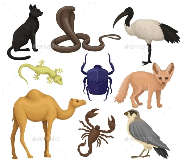 Detailed Flat Vector Set of Various Egyptian - Animals Characters