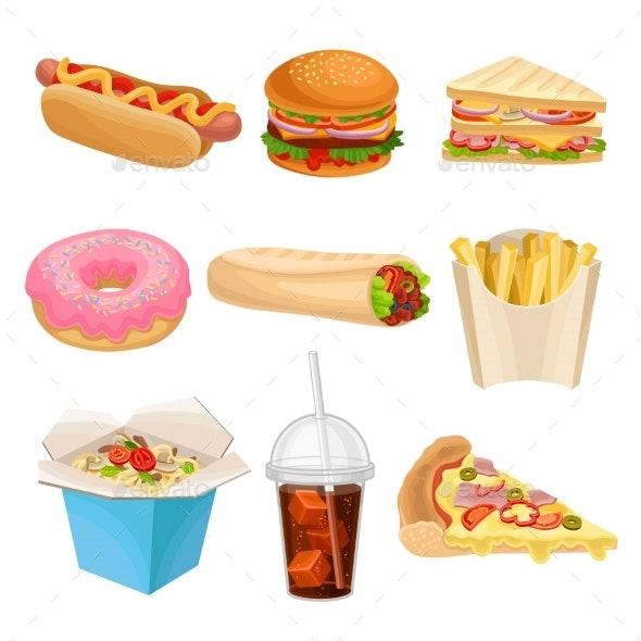 Flat Vector Set of Fast-Food Icons - Food Objects