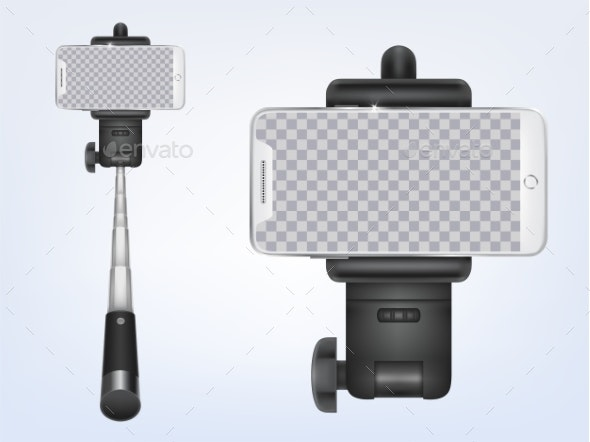 Vector Realistic Selfiestick with Smartphone - Media Technology