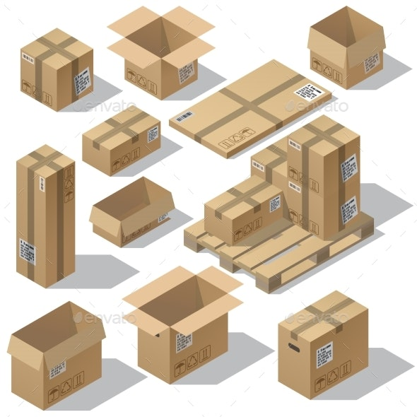 Vector Isometric Set of Cardboard Packaging - Man-made Objects Objects