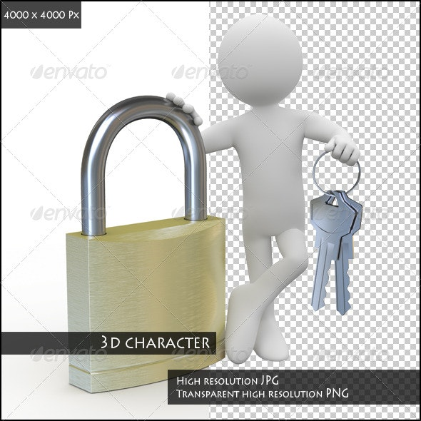 Man Leaning on a Huge Padlock - 3D Renders Graphics