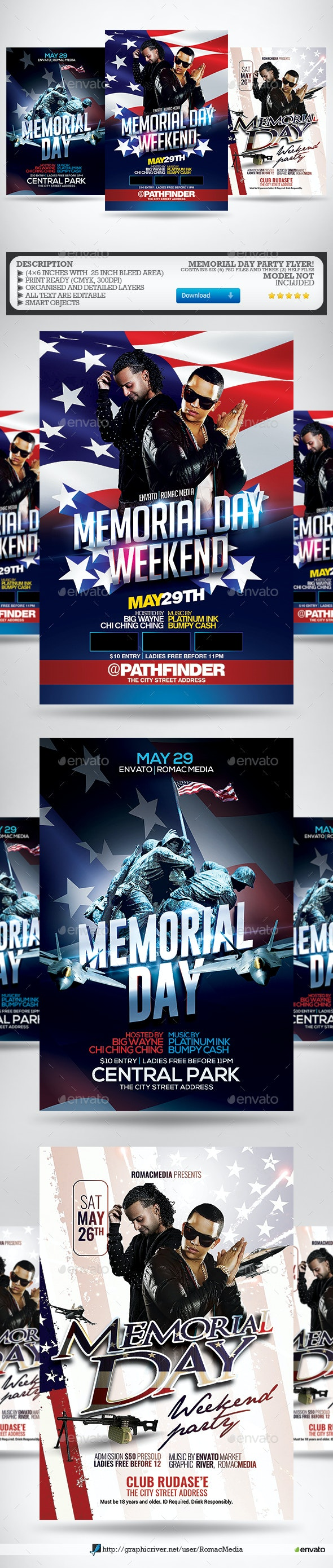 Memorial Day Flyer Bundle - Clubs & Parties Events