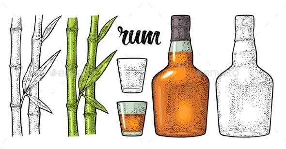 Glass and Bottle of Rum with Sugar Cane Engraving - Food Objects
