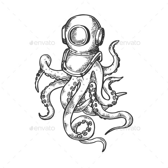 Octopus and Old Diver Helmet Engraving Vector