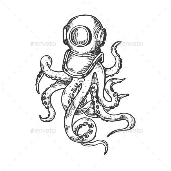 Octopus and Old Diver Helmet Engraving Vector - Miscellaneous Vectors