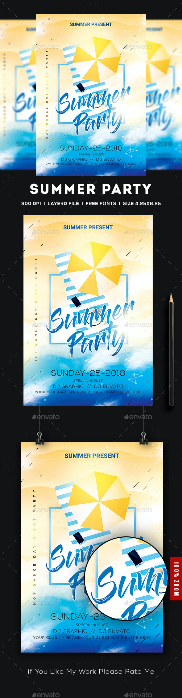 Summer Beach Party Flyer - Concerts Events