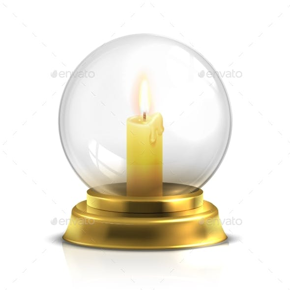 Realistic Magic Ball with Light Candle Isolated on