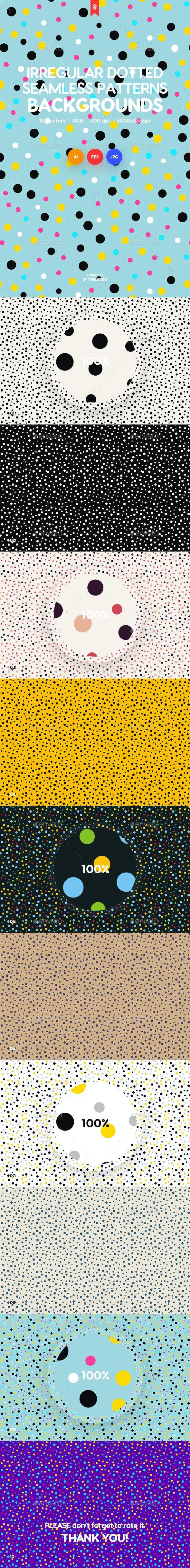 Colored Irregular Polka Dots Seamless Patterns / Backgrounds - Patterns Backgrounds