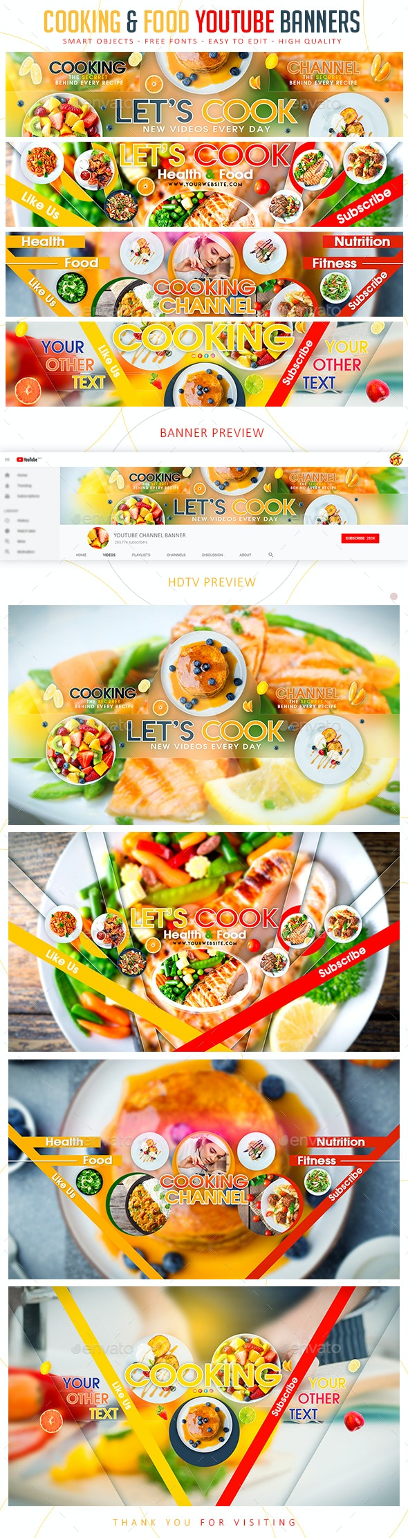 Cooking & Food YouTube Banners - YouTube Social Media