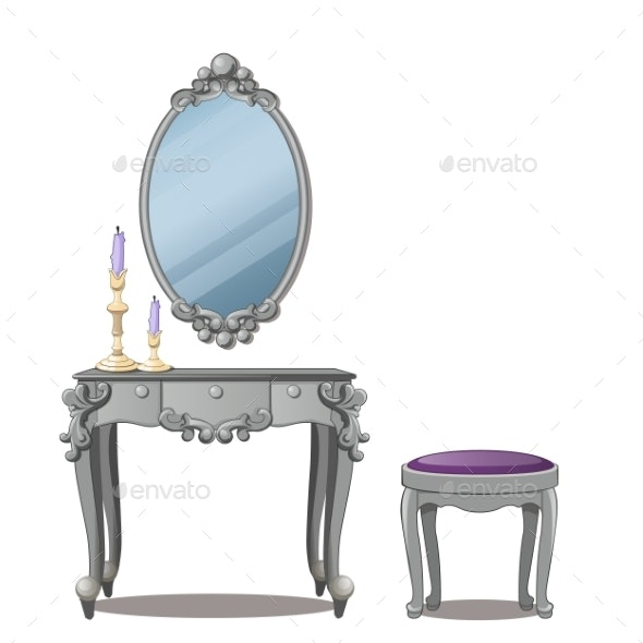 Vintage Table for Cosmetics and a Mirror - Man-made Objects Objects