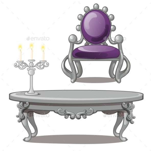 Vintage Table with Candle and Chair Isolated - Man-made Objects Objects