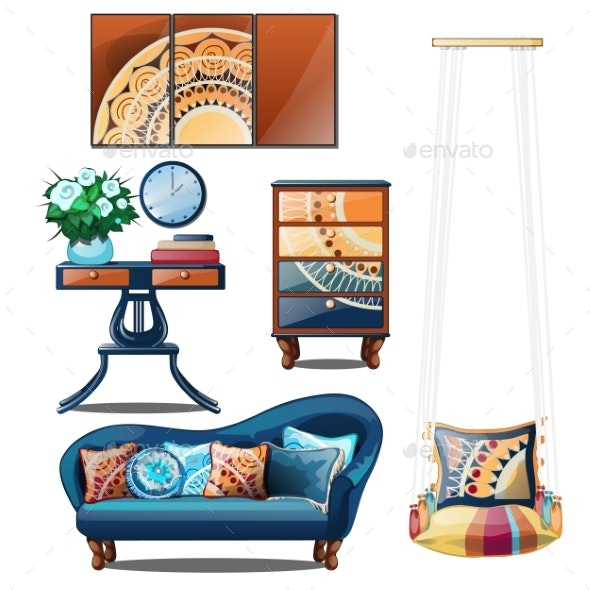 Interior with Colorful Ornaments Isolated - Man-made Objects Objects