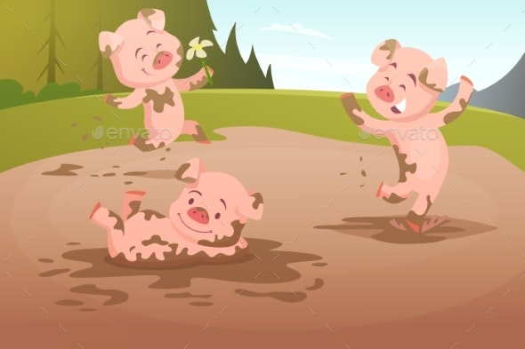 Pigs Playing in Dirty Puddle - Animals Characters