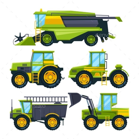 Combine Harvester and Others Tractors - Man-made Objects Objects