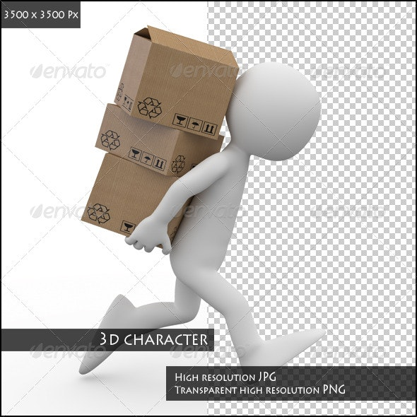 Man Running with Boxes in the Back - 3D Renders Graphics