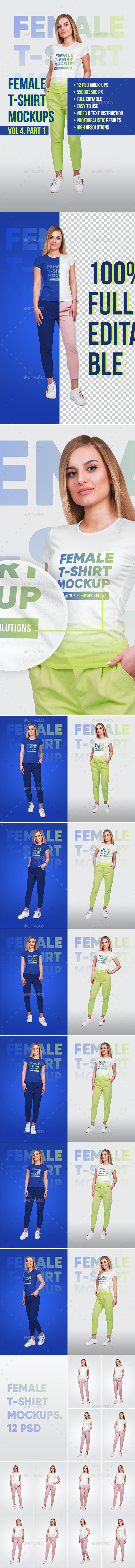 Female T-Shirt Mockups Vol4. Part 1 - T-shirts Apparel