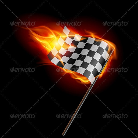 Burning Checkered Racing Flag - Objects Vectors
