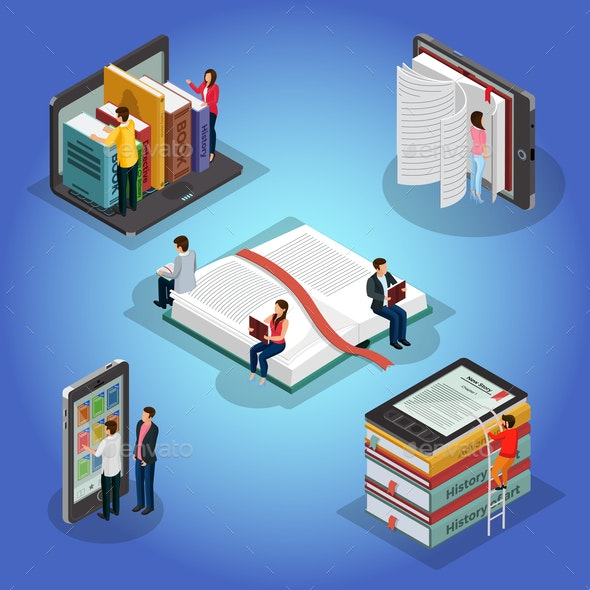 Isometric Books Reading Composition - Computers Technology