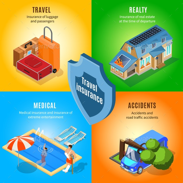 Isometric Travel Insurance Service Concept - Buildings Objects