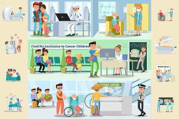 Cancer Disease Horizontal Brochures - People Characters