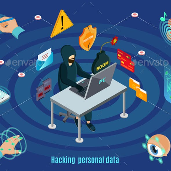 Isometric Biometric Hacking Protection System Concept