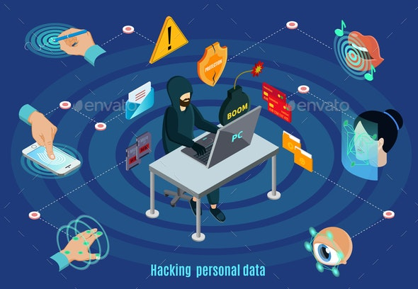 Isometric Biometric Hacking Protection System Concept - People Characters
