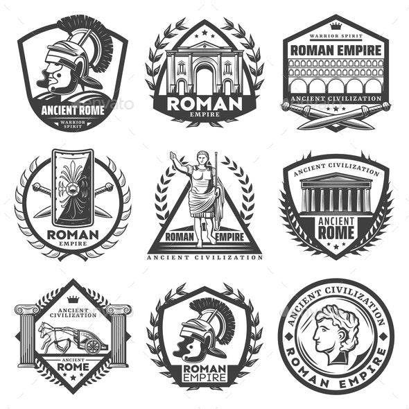Vintage Monochrome Roman Empire Labels Set - Decorative Symbols Decorative