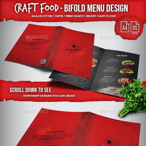 Craft Food Bifold Menu - A4 & US Letter. Very Editable.