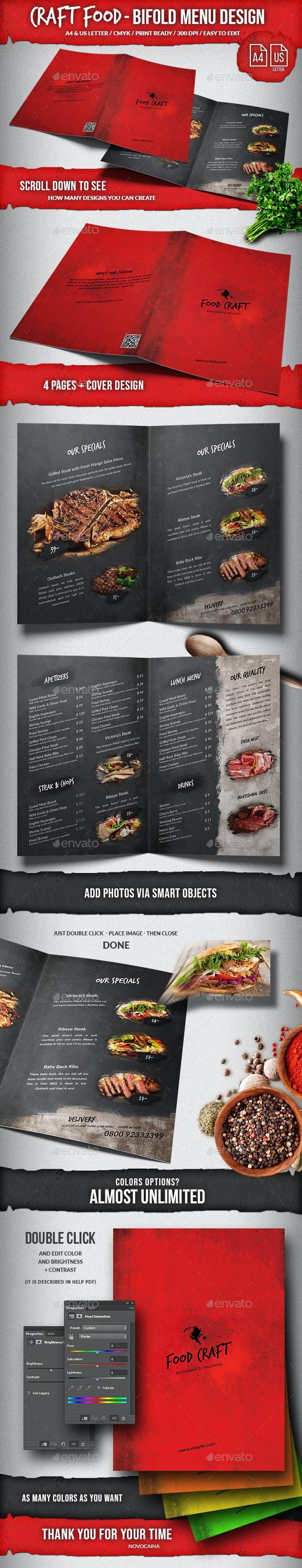 Craft Food Bifold Menu - A4 & US Letter. Very Editable. - Food Menus Print Templates