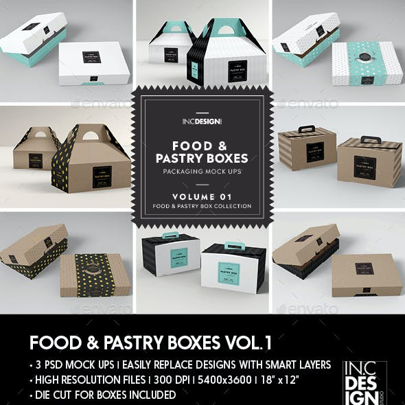 Food Pastry Boxes Vol.1: Cake Donut Pastry Packaging Mockups