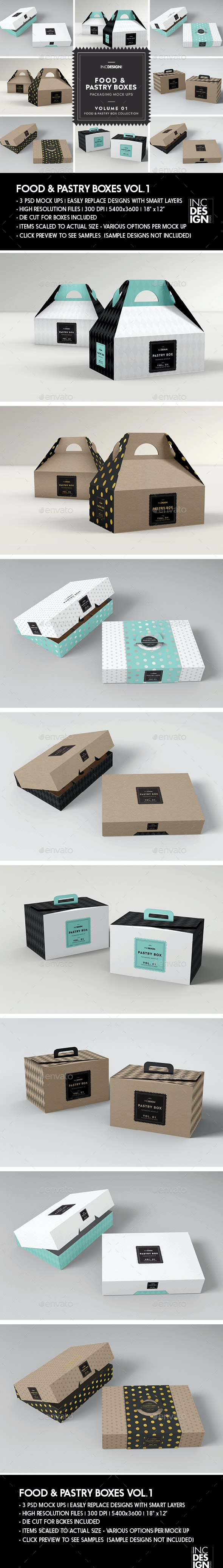 Food Pastry Boxes Vol.1: Cake Donut Pastry Packaging Mockups - Food and Drink Packaging