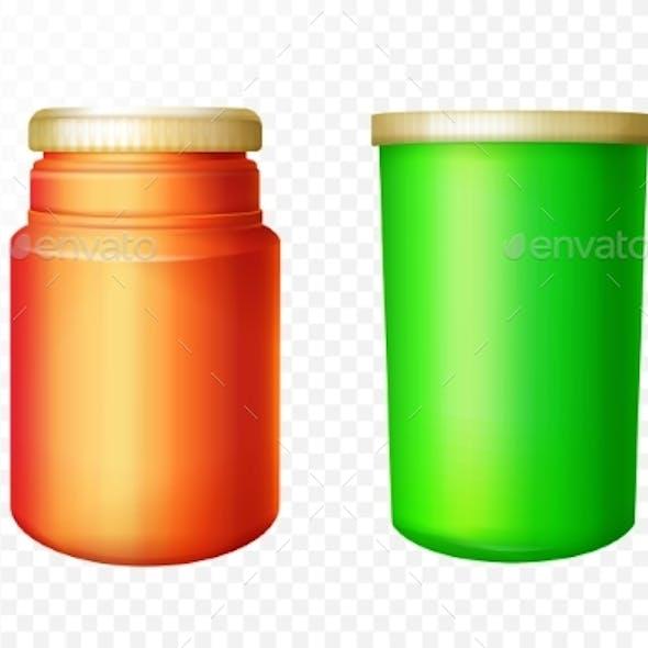 Vector Realistic Medical Bottles Set