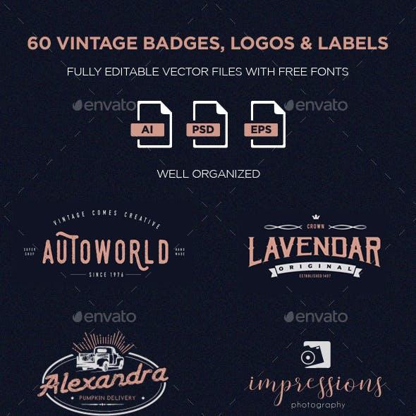 60 Vintage Badges, Logos & Labels