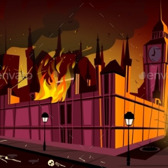 London Plague Epidemic in Fire Vector Illustration