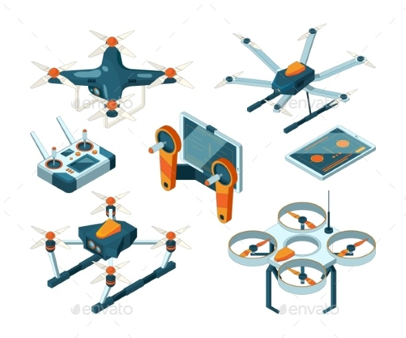 Different Isometric Illustrations of Drones - Man-made Objects Objects