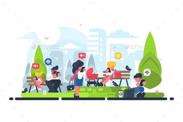 People in Green Park Using Gadgets - Miscellaneous Vectors