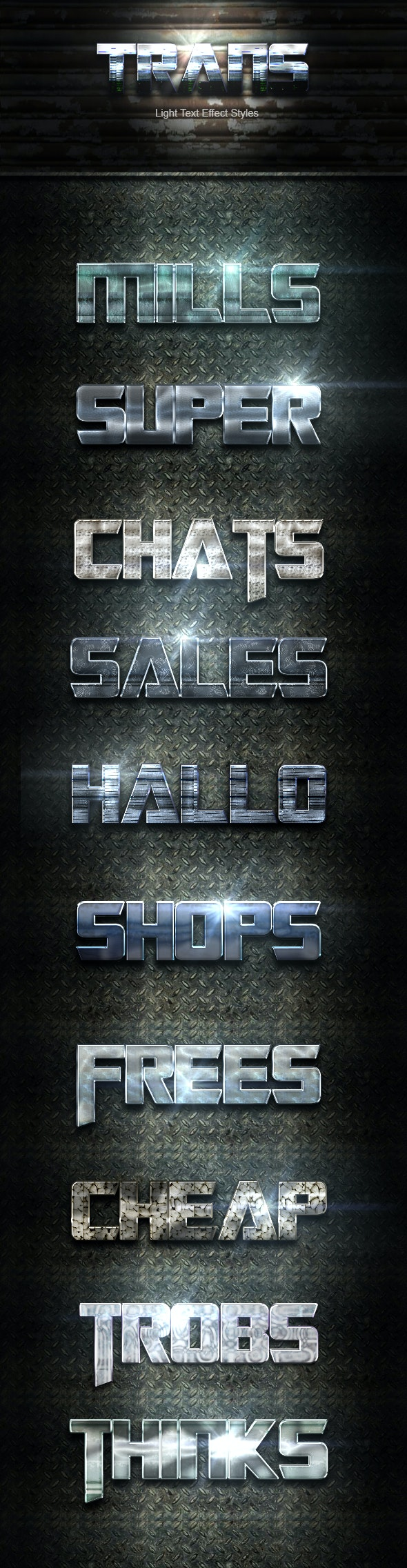 10 Photoshop SILVER Text Effect Light Blue Styles - Text Effects Actions