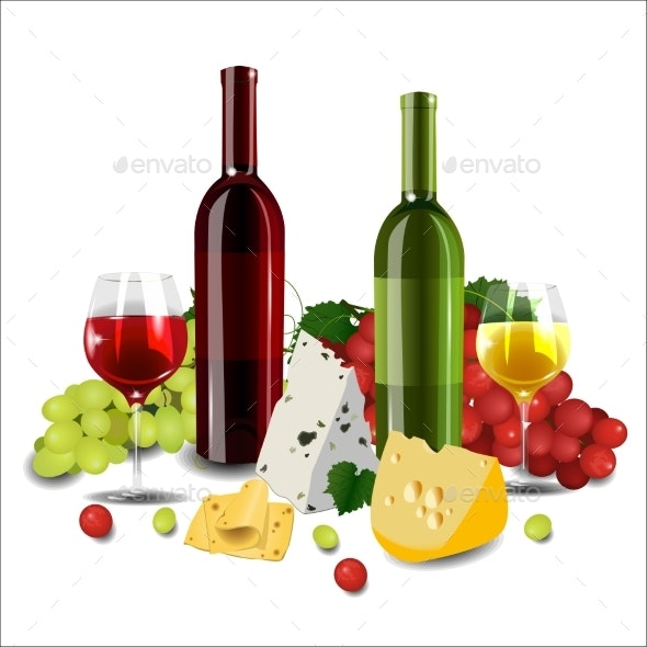 Red and White Wine in Bottles and Glasses - Food Objects