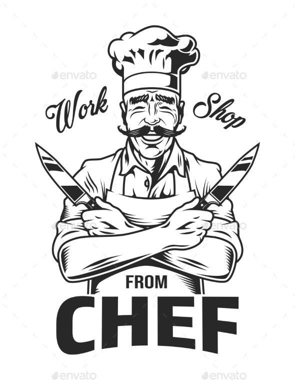 Vintage Monochrome Cooking Emblem - Miscellaneous Vectors